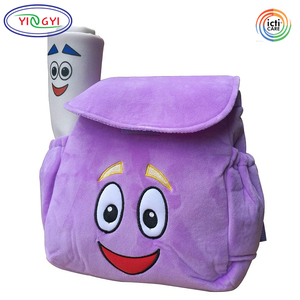 B528 Cartoon Licensed Dora Soft Plush Backpack Rescue Bag Purple Kids School Bag Dora Backpack