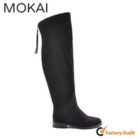 MK001-14 brown knee high ladies genuine leather suede zipper long boots for girls