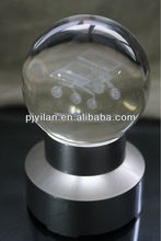 pretty solid decorative engraved crystal 3d glass ball with dragon LED crystal ball