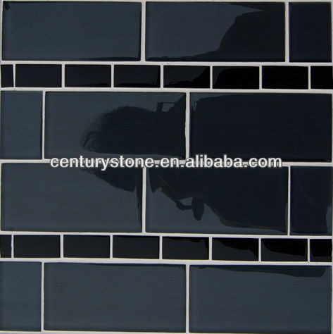 2013 new design kitchen and bartroom tiles irregular shape glass mosaic tile pattern black glass mosaic tile for walls