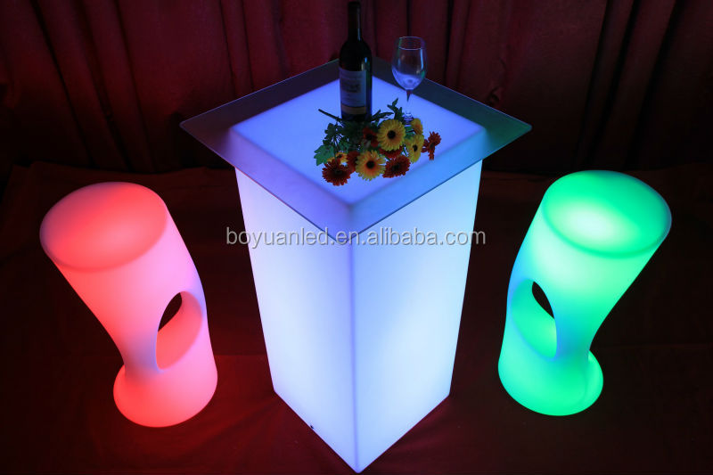 led light stand up bar tables, high bar cubic table with led light