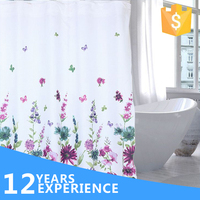 Chinese style ceiling mount shower curtain track,printed flower curtain fabric for shower room