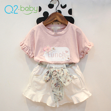 Q2-baby Alibaba Trade Assurance Two Piece Summer Kid Multicolor Girl Boutique Clothes Set