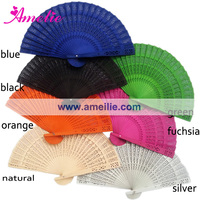 Wholesale Engraved Sandalwood Fans with Assorted Colors