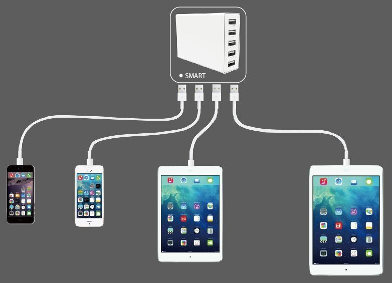 60W 6 port usb multi device charging station