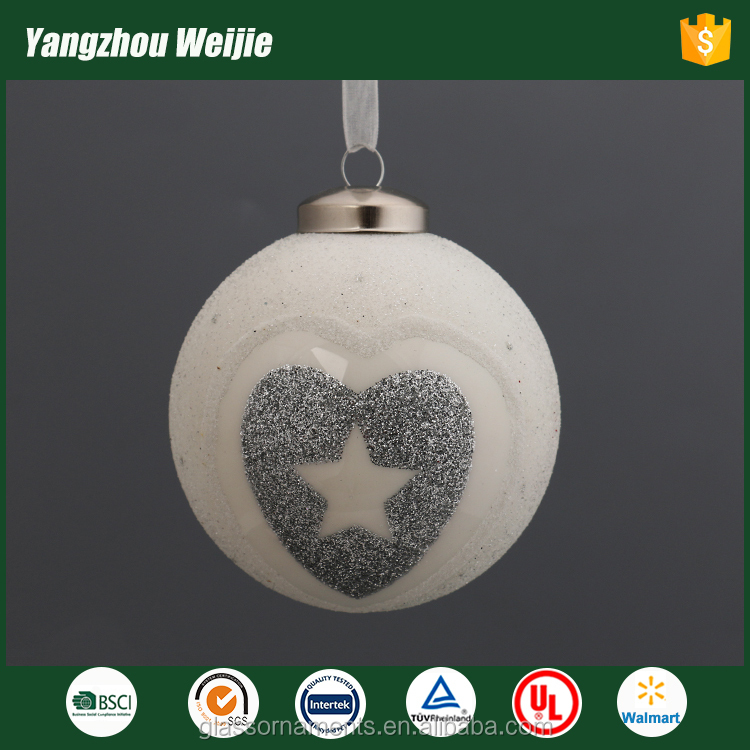 Milk white christmas ornament glass ball with handstick pattern