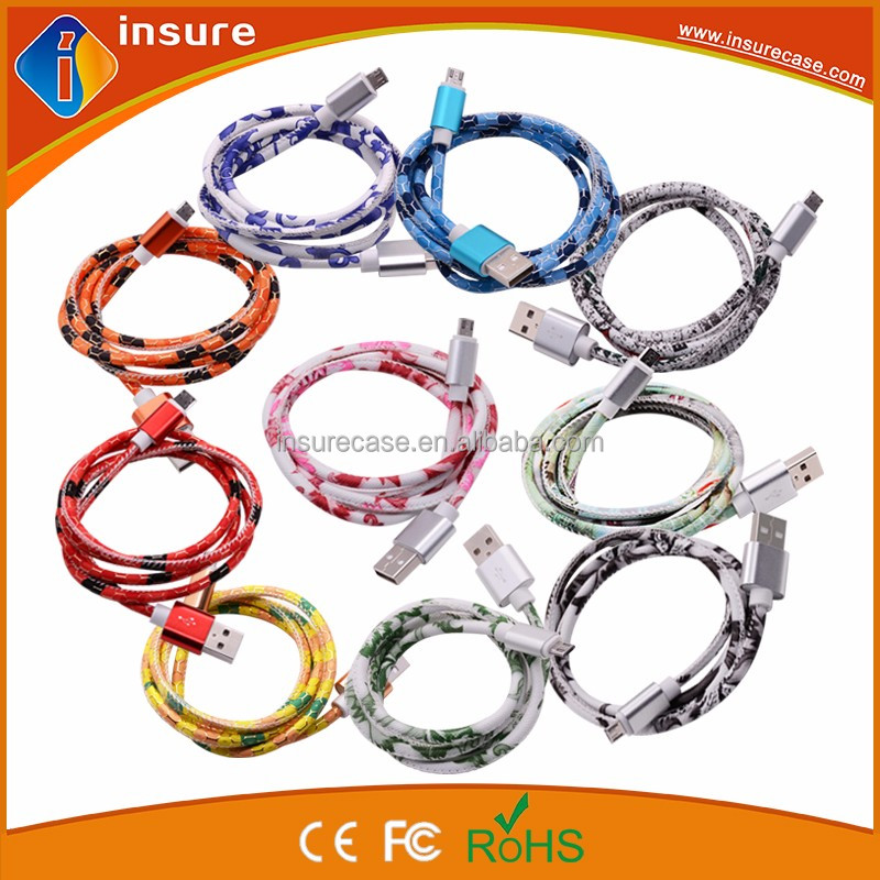 hot selling new style PU leather 1m usb charging data cable for samsung smart phones