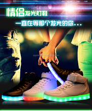 2016 leather genuine upper simulation led shoes men cool led adults shoes