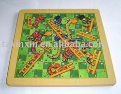 Wooden board Snakes&ladders game