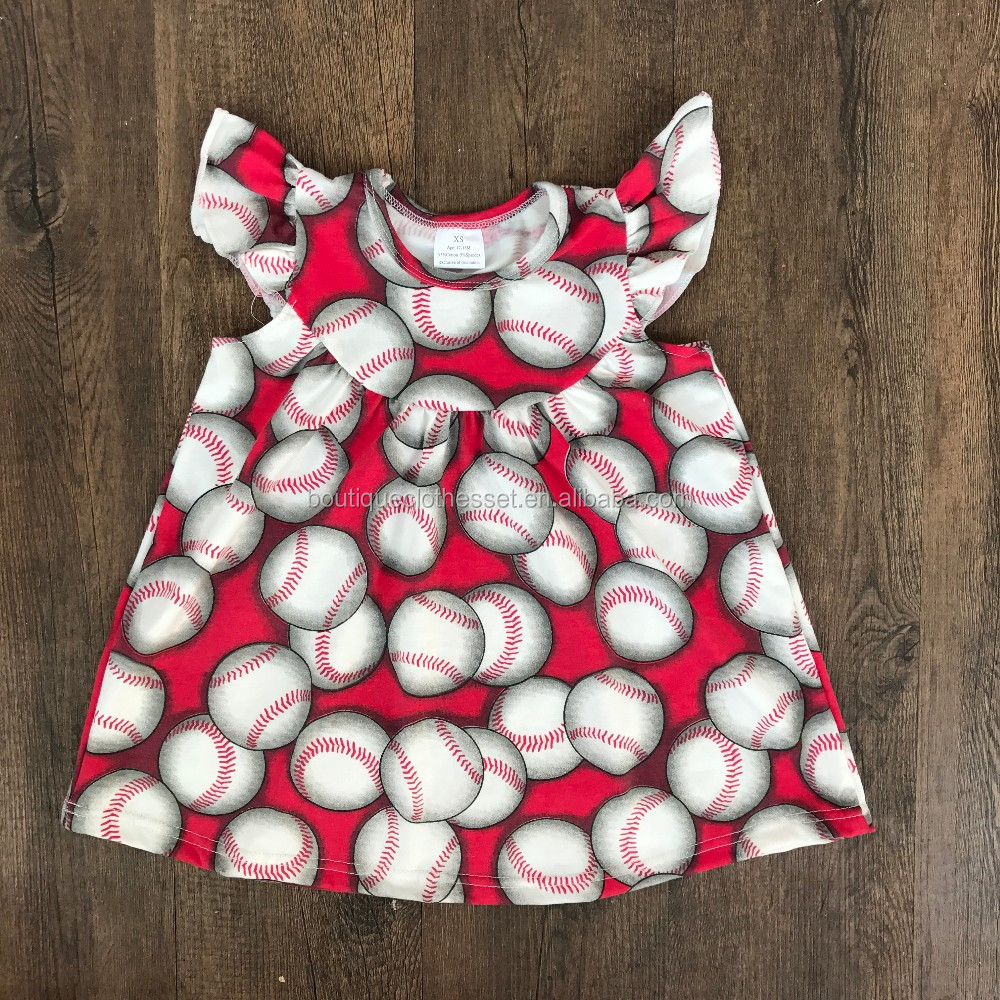 2017 girls baseball ruffle dress girls flutter sleeve dresses 2017 baby frock designs