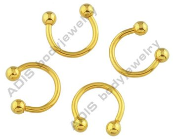 Anodized Gold Titanium G23 Horseshoes Jewelry