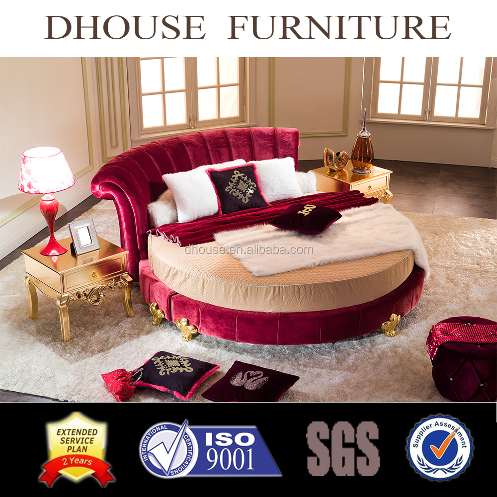 New Classical Style Luxurious Comfortable Fabric Home Round Bed AL021