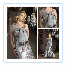 Strapless Satin Hand-Beaded Floral Embroidery Matching Shawl Trimmed Silver Grey Mother of the Bride Dress (MOMO-3011)