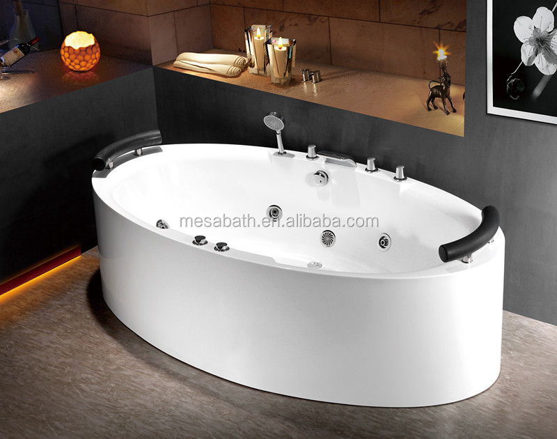 white acrylic freestanding whirlpool massage oval tub