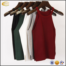 Ecoach spring autumn fashion women sleeveless sexy clothing knitted vest short Camis Tank Tops
