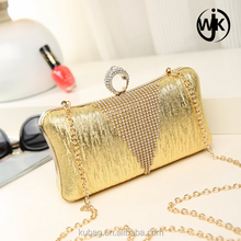 Hot Minaudiere metal clutch bag evening bling gold Evening Bag with Chain box clutch evening bag