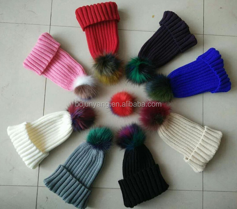 Juanyang beanie cap and scarf with big fluffy fur balls