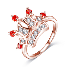 LZESHINE Exquisite Crown Shaped Ring 18k Rose Gold Plated CZ Diamond Rings for Women Fashion Plated Aneis De Ouro Jewelry