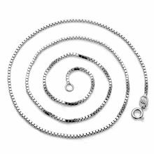 ELBLUVF 925 Sterling Silver Simple Necklace Box Chain Jewelry Accessories