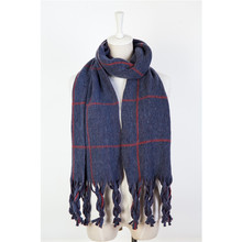 2018 Autumn&winter woven patter plaid women/men fashion shawl acrylic long tassel scarf