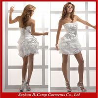 WD-1188 Fancy swirling panels casual short cream wedding dresses sexy