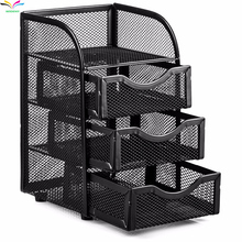 Metal Mesh Desktop 4 Tiers Office File Desk Black Organizer