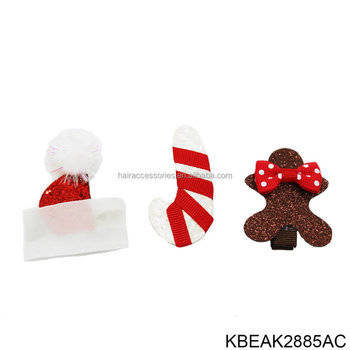 Glitter Christmas Hat Hair Clips for Baby Pets