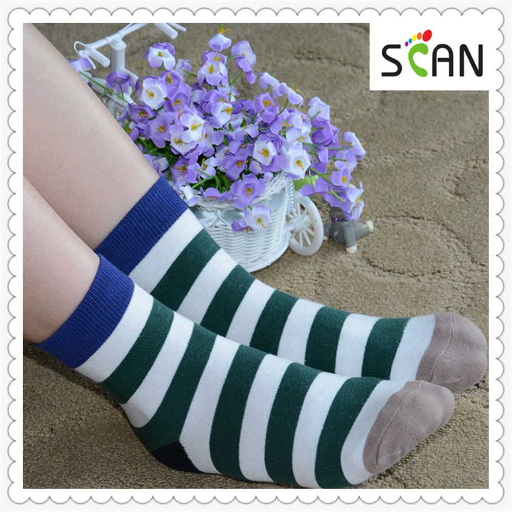 Women Multicolor Leisure Stripe Knee High Cotton Socks