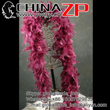 Chinese Gold Manufacturer ZP Crafts Wholesale Fashion Sexy Dyed Burgundy Chandelle Feather Boas