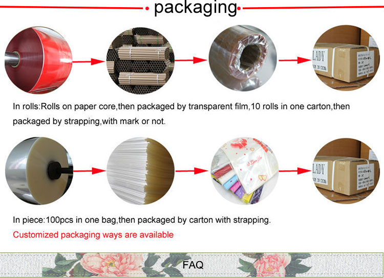 Latest product custom design pink flower opp packing film