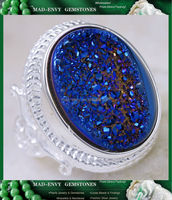 12Ct Titanium Druzy 925 Solid Sterling Silver Victorian Style Ring Size 8 MR498
