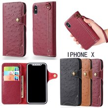 Luxury Genuine Leather Phone case cover Wallet case, for iphone X genuine leather case