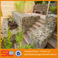 ISO Factory Stone Welded Gabion Retaining Wall Construction for garden landscapes with EXW price