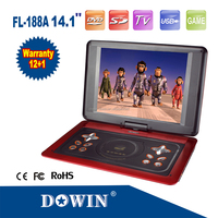 "manufacture wholesale Hot Portable DVD 14.1"" Super thin Portable EVD USB Game With Card Reader Slot Portable DVD TV Player"