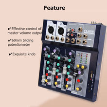 Cheap Professional Mini 4-Channel Live Studio Audio Sound USB Mixer Mixing Console