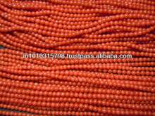 AAA High Quality Natural Italian Coral Gemstone Smooth Round Beads Wholesale Price