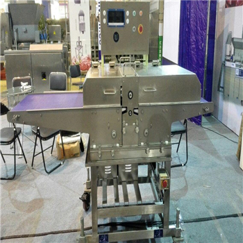 Burger forming machine with battering and crumbing machine