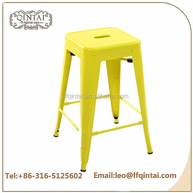 Wholesale cheap furniture yellow commercial industrial square iron bar stool bar chair