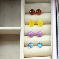 Wonderful quality Semi precious Stone bead earring amber bead earrings Garnet Earring for girls