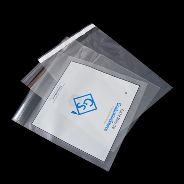 custom print clothing clear poly self adhesive seal plastic garment packaging cellophane bag with own logo