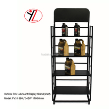4 tier metal display stand for fuel oil lubricating floor rack with wheels and ad