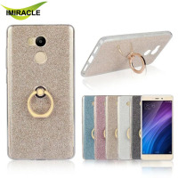 Wholesale Glitter TPU Metal Ring Holder Back Cover Case For Xiaomi Redmi 4 Pro Cell Phone Accessories