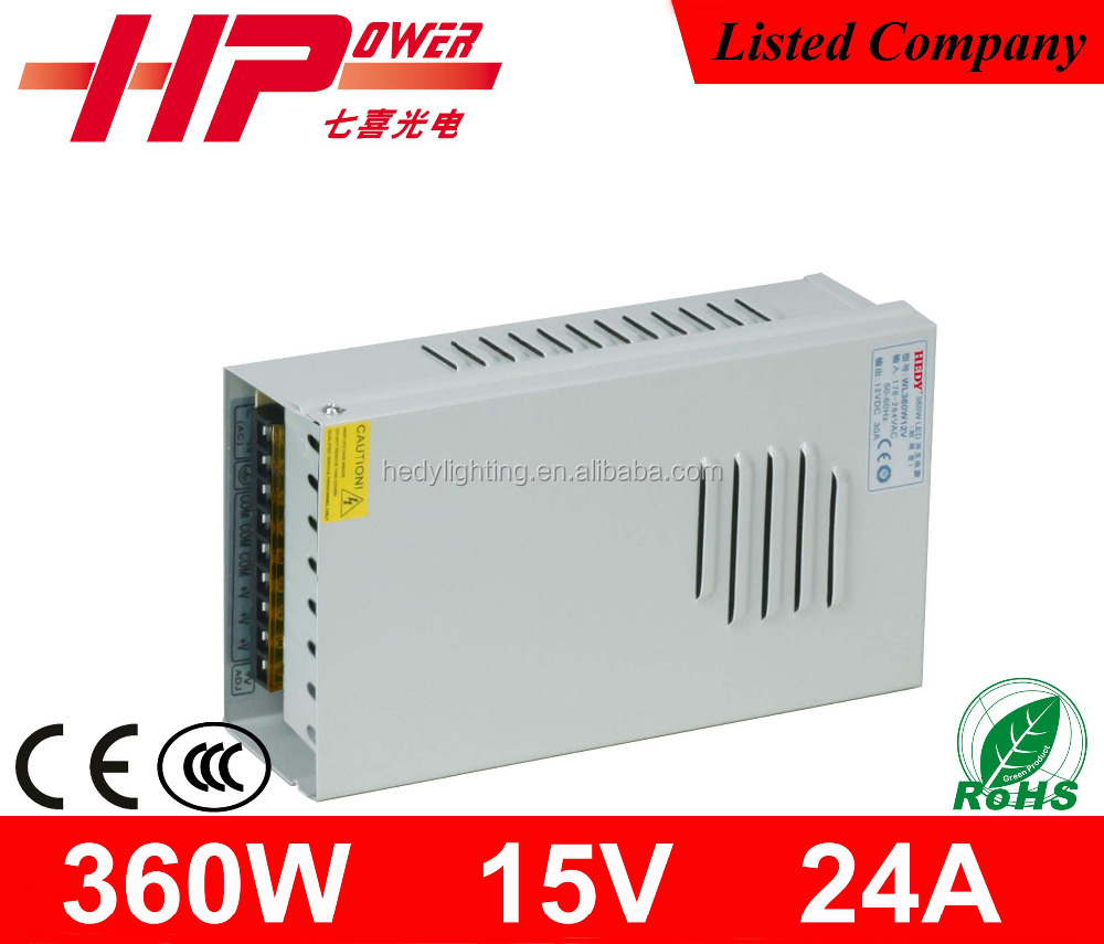 2015 new product 2 years warranty power supply steady constant voltage single output 360w 15v 24a ipl power supply