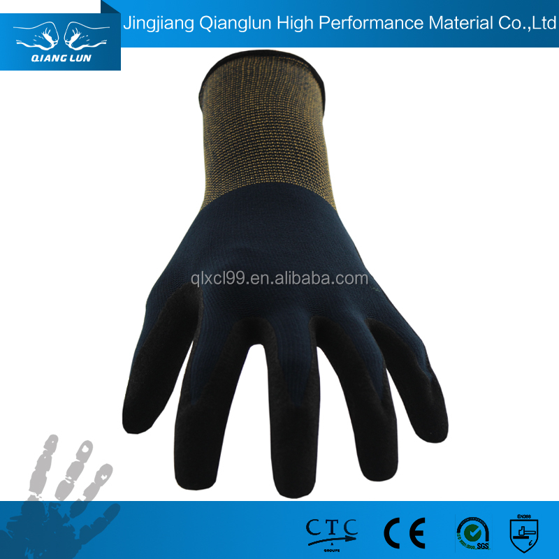 CE nitrile coated firm grib canadian rigger safety work gloves