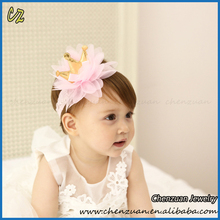 Cute baby hair accessories make mini elastic pink fabric flower covered elastic hair bands