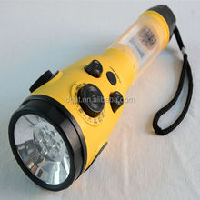 Outdoor Survival Gear Hand Crank Dynamo LED Torch Flashlight with AM/FM Radio, Cell Phone Charger, Yellow