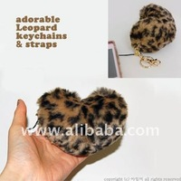 ADORABLE FUR KEY CHAINS/ Cute Leopard Pink Keyring Keychain Chains
