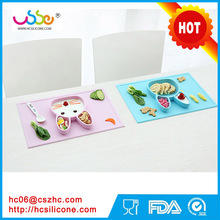 BPA Free Baby Placemat and Plate Suction Silicone Feeding Placemat Portable Dinnerware Dish with Cute Happy