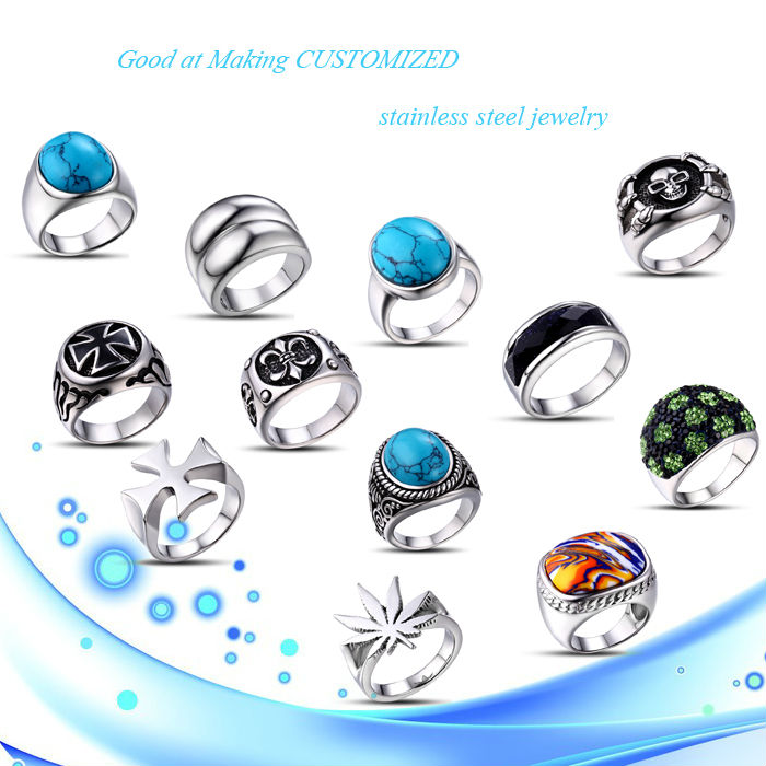 China factory direct sale gemstone ring custom stainless steel jewelry