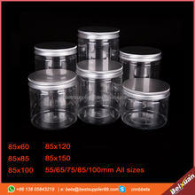 All sizes Plastic PET Food Grade Jar container with easy open can aluminum lid with plastic cover